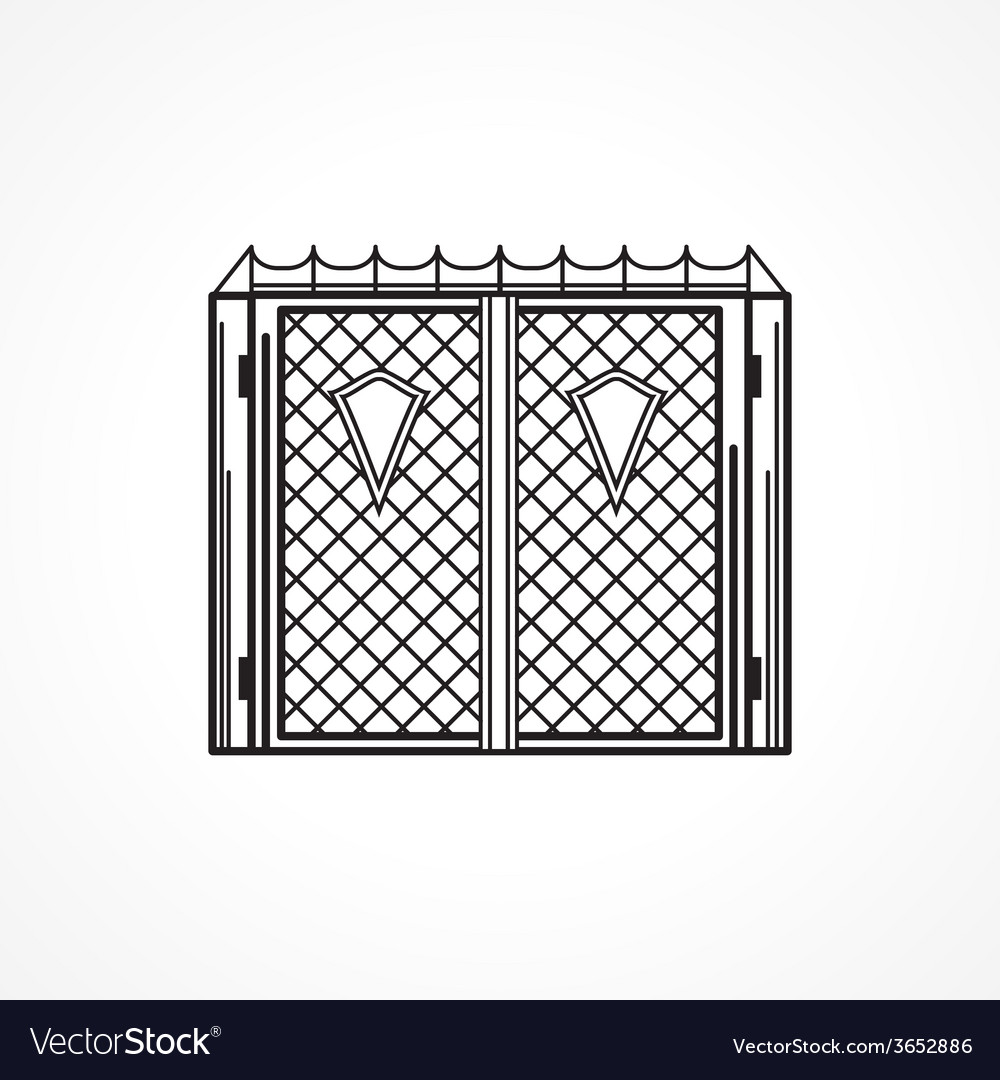 Line icon for iron gates vector | Price: 1 Credit (USD $1)