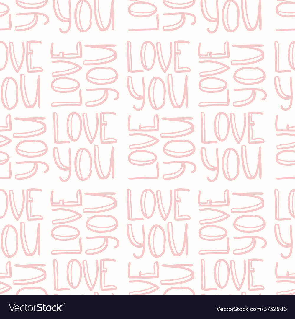 Love you pink seamless pattern vector | Price: 1 Credit (USD $1)