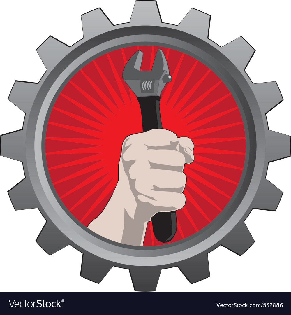 Metal badge with hand with spanner vector | Price: 1 Credit (USD $1)