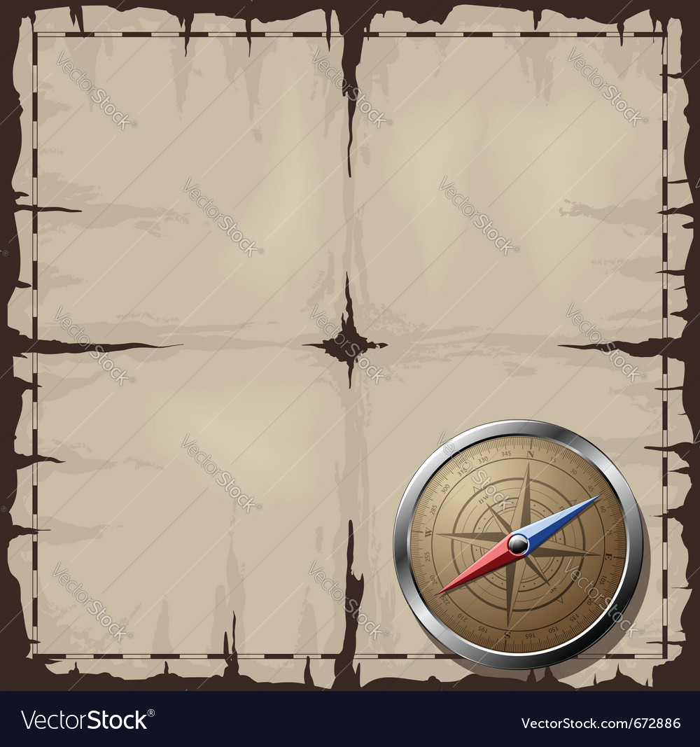 Old map with steel compass vector | Price: 1 Credit (USD $1)