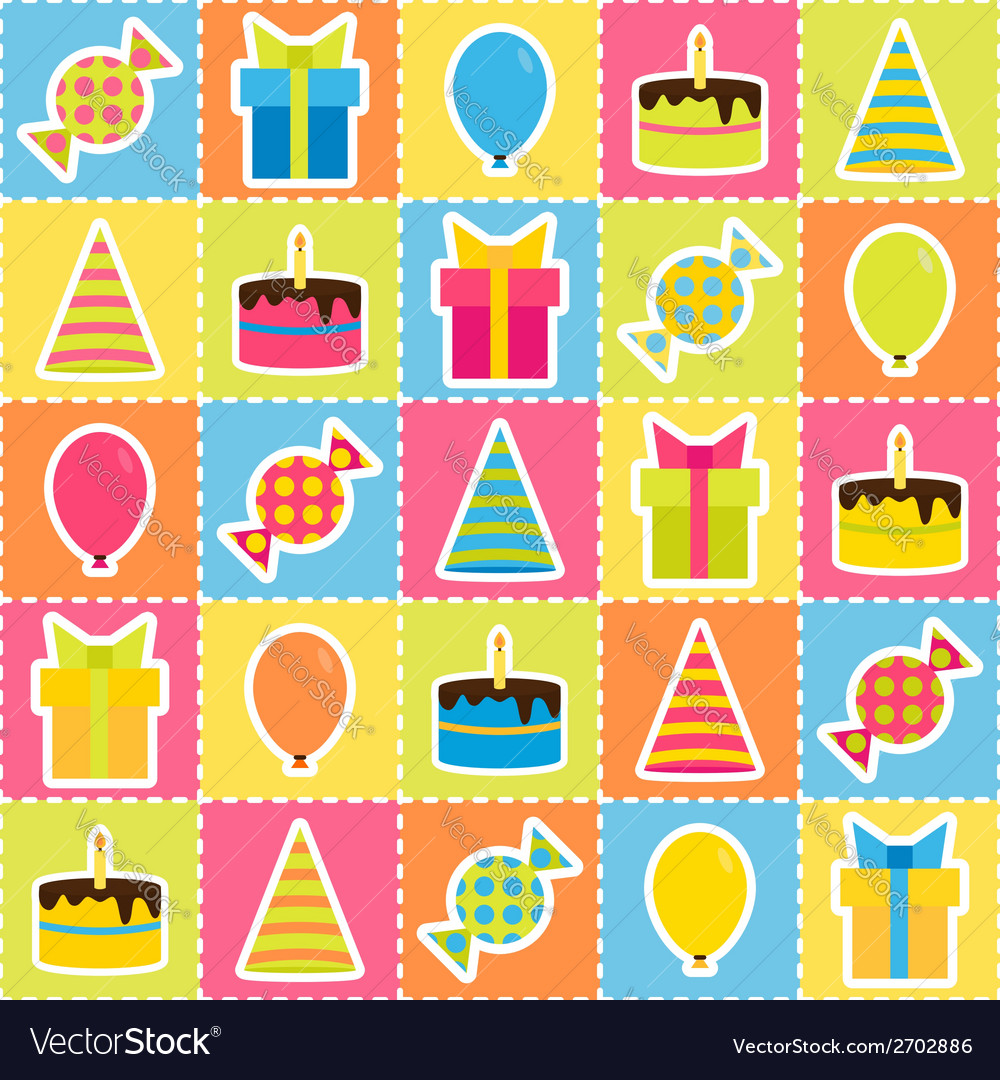 Seamless pattern with elements of birthday party - vector | Price: 1 Credit (USD $1)