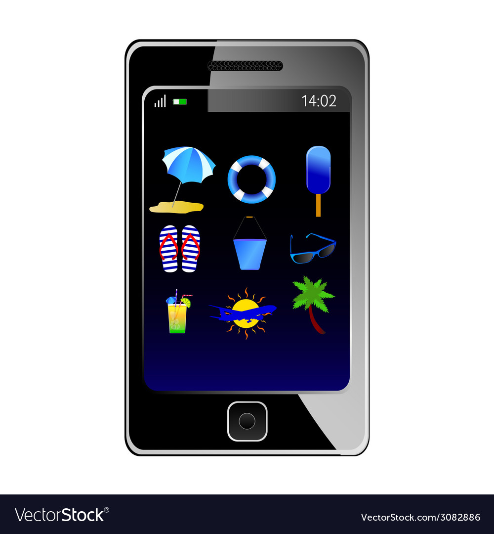 Stuff for the beach on the phone vector | Price: 1 Credit (USD $1)