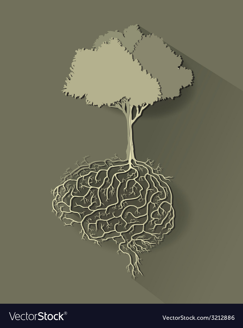Tree with brain paper cut vector | Price: 1 Credit (USD $1)