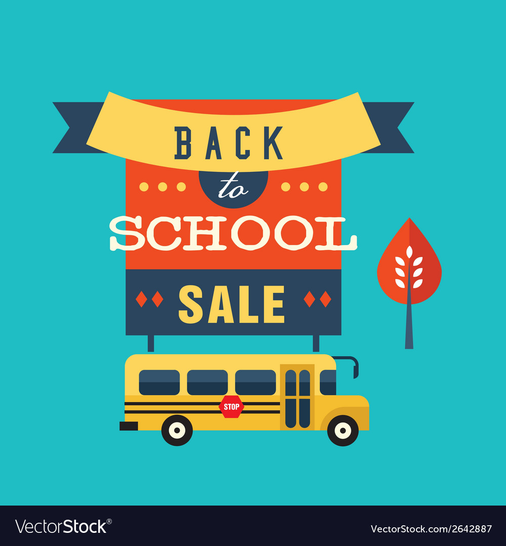 Back to school flat vector | Price: 1 Credit (USD $1)