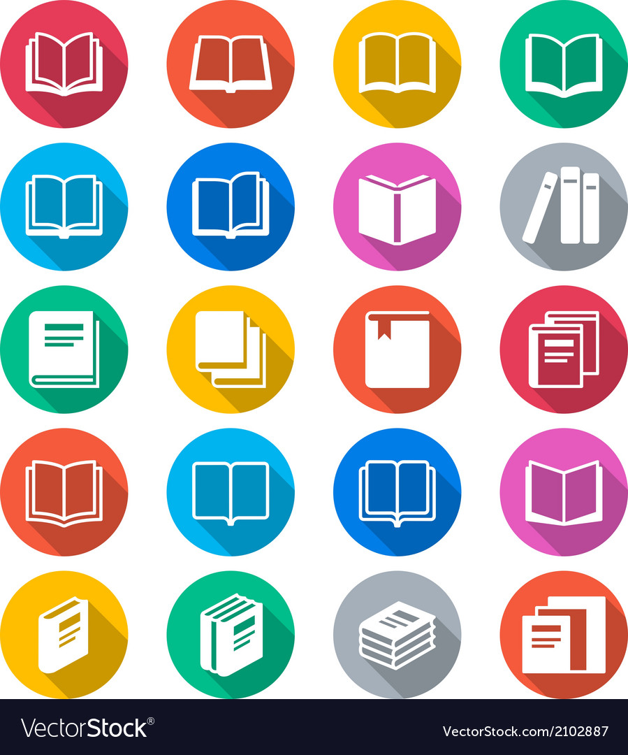 Book flat color icons vector | Price: 1 Credit (USD $1)