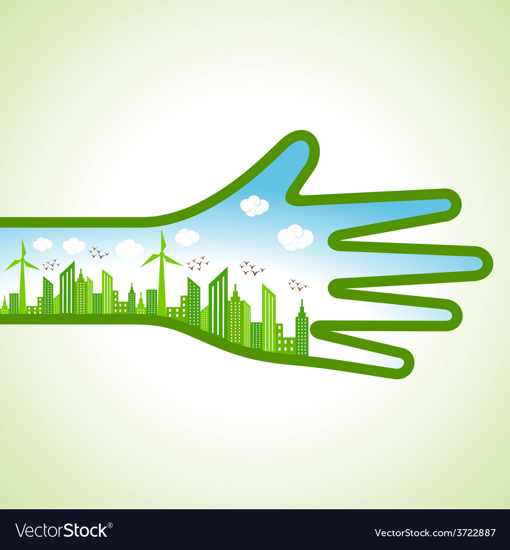 Ecology concept - eco cityscape with hand vector | Price: 1 Credit (USD $1)