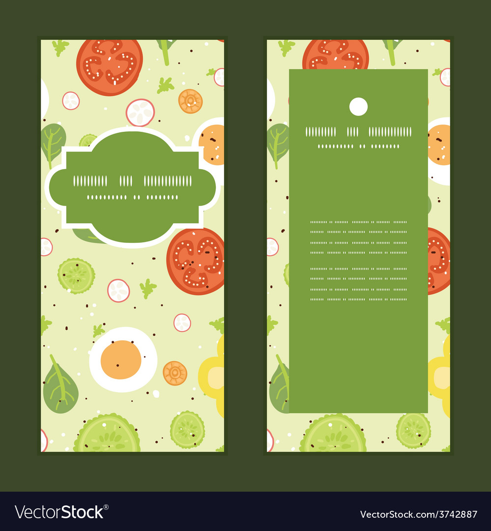 Fresh salad vertical frame pattern vector | Price: 1 Credit (USD $1)