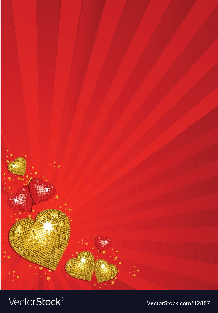 Gold valentine's disco hearts vector | Price: 1 Credit (USD $1)