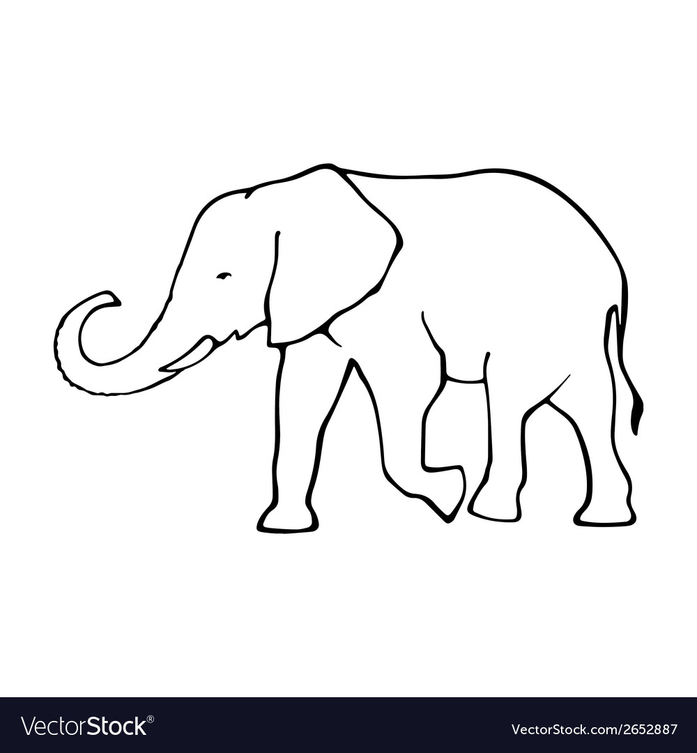 Outline elephant  template for design vector | Price: 1 Credit (USD $1)