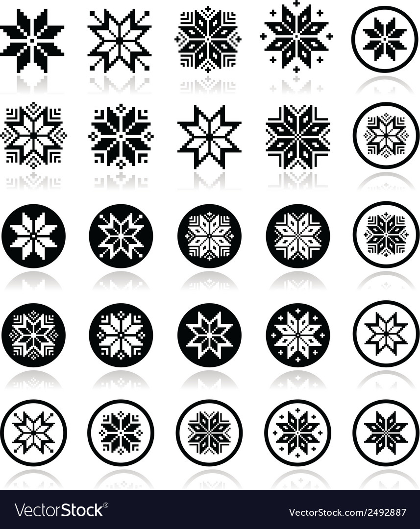 Pixelated snowflakes christmas icons vector | Price: 1 Credit (USD $1)