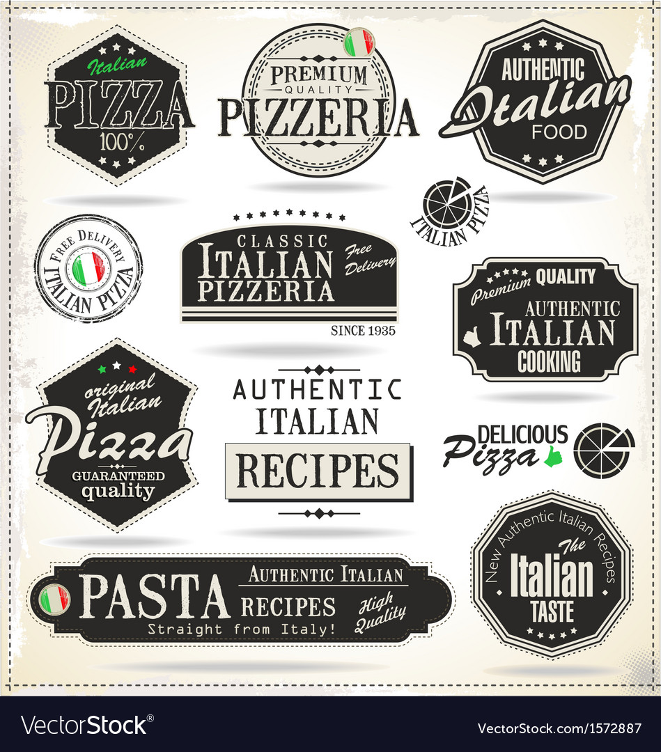 Pizza labels vector | Price: 3 Credit (USD $3)