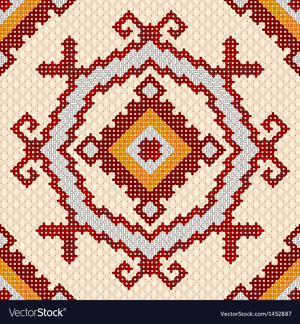 Seamless embroidery pattern vector | Price: 1 Credit (USD $1)