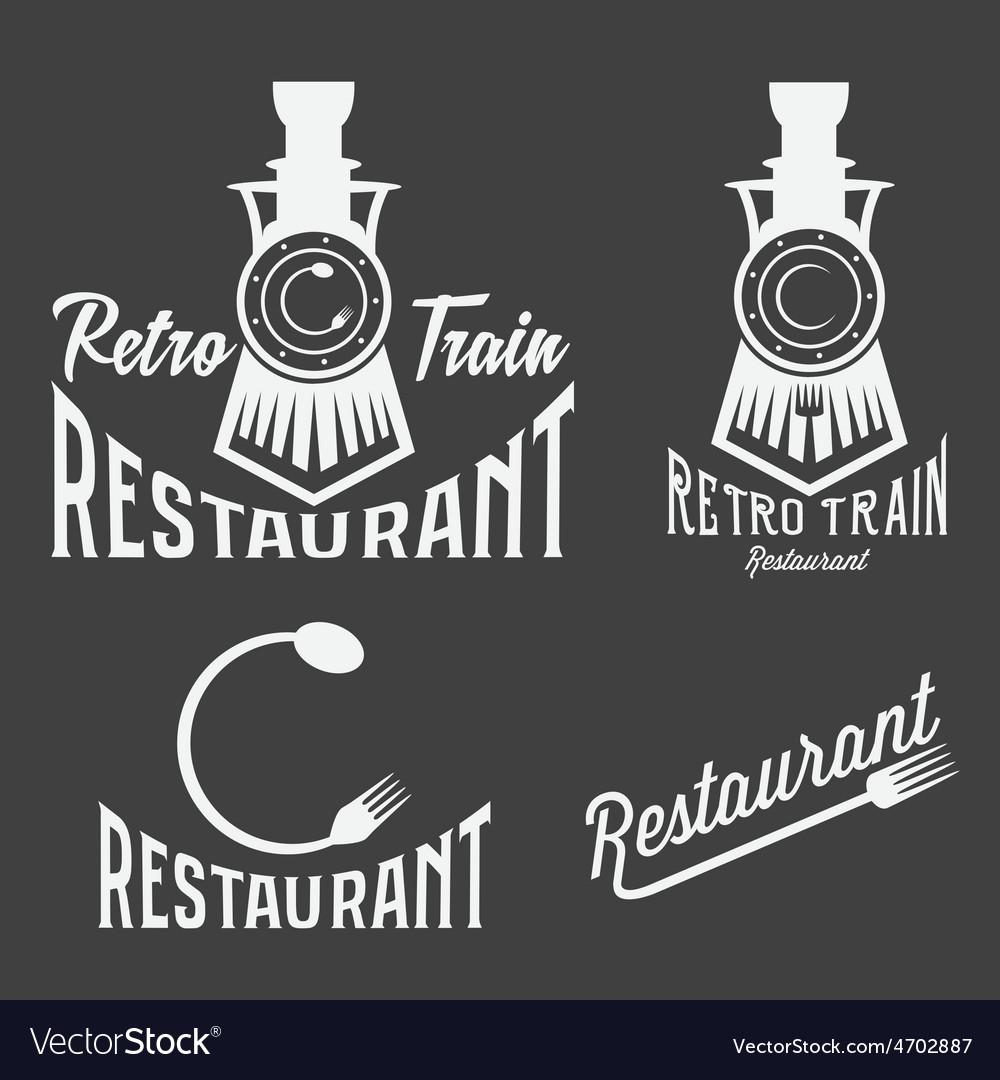 Vintage set of retro train restaurant vector | Price: 1 Credit (USD $1)
