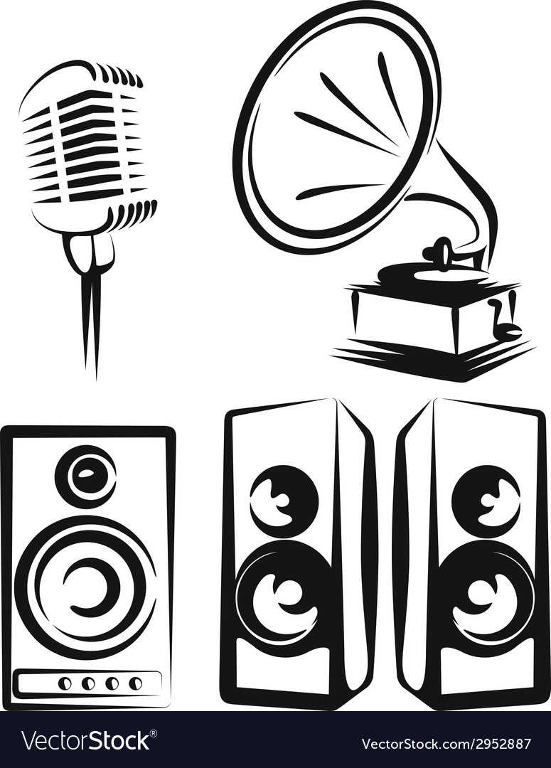 With a set of music equipment vector | Price: 1 Credit (USD $1)