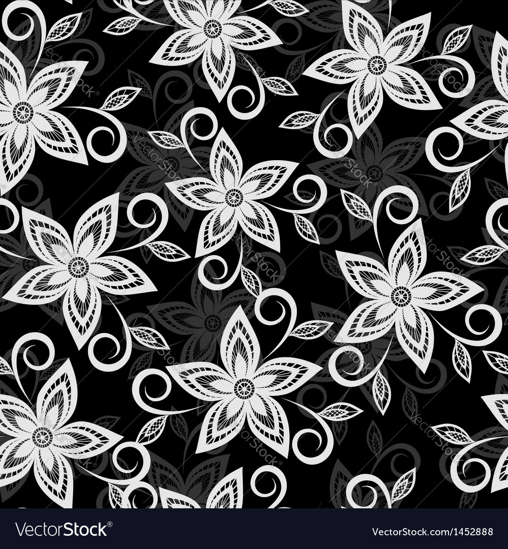 Black and white floral background lace flowers vector | Price: 1 Credit (USD $1)