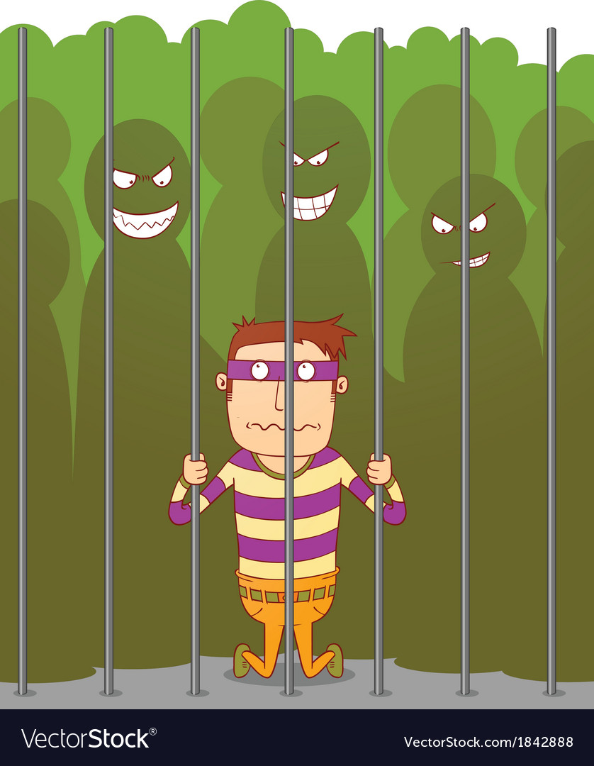 Bullying in a jail vector | Price: 1 Credit (USD $1)