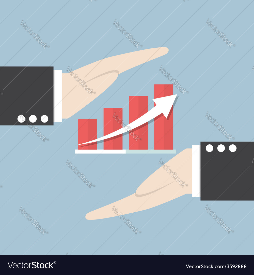 Businessman hand and graph vector | Price: 1 Credit (USD $1)