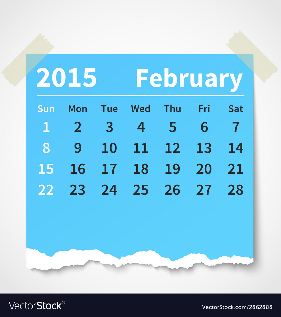 Calendar february 2015 colorful torn paper vector | Price: 1 Credit (USD $1)