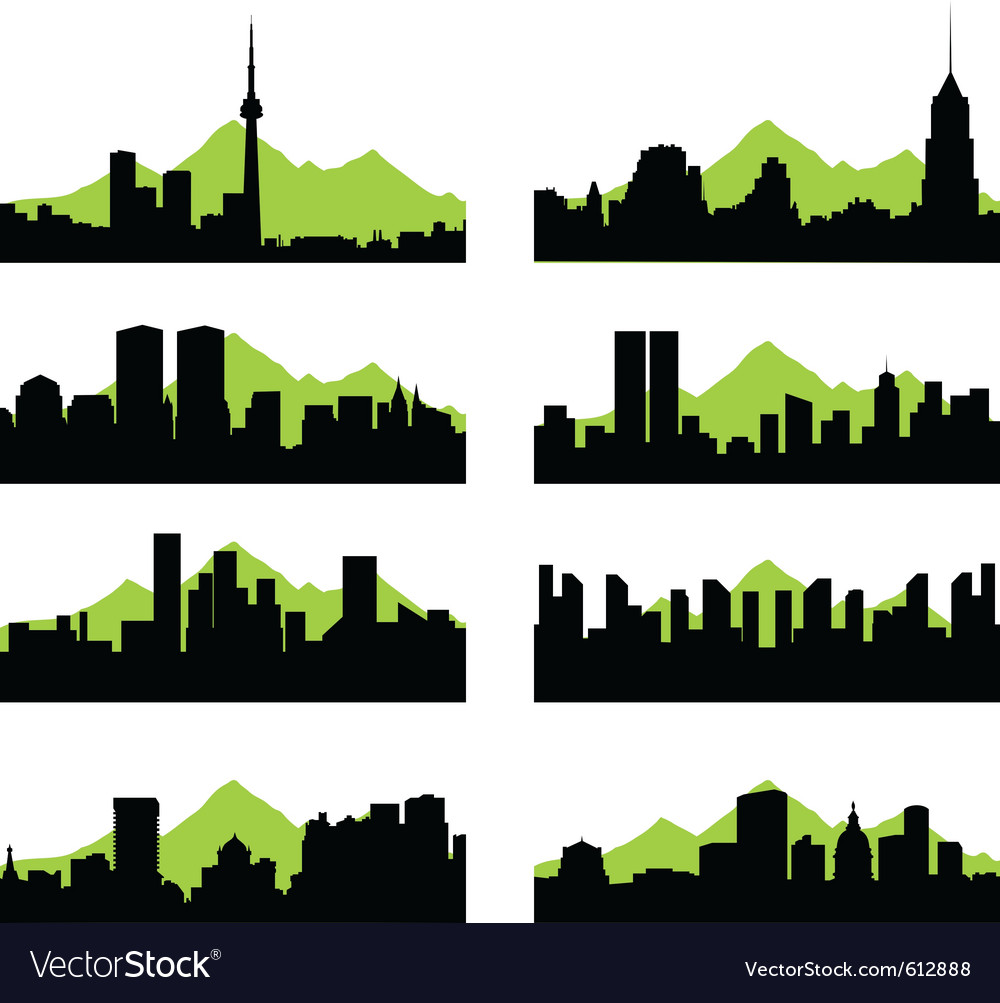 Cities silhouettes vector | Price: 1 Credit (USD $1)