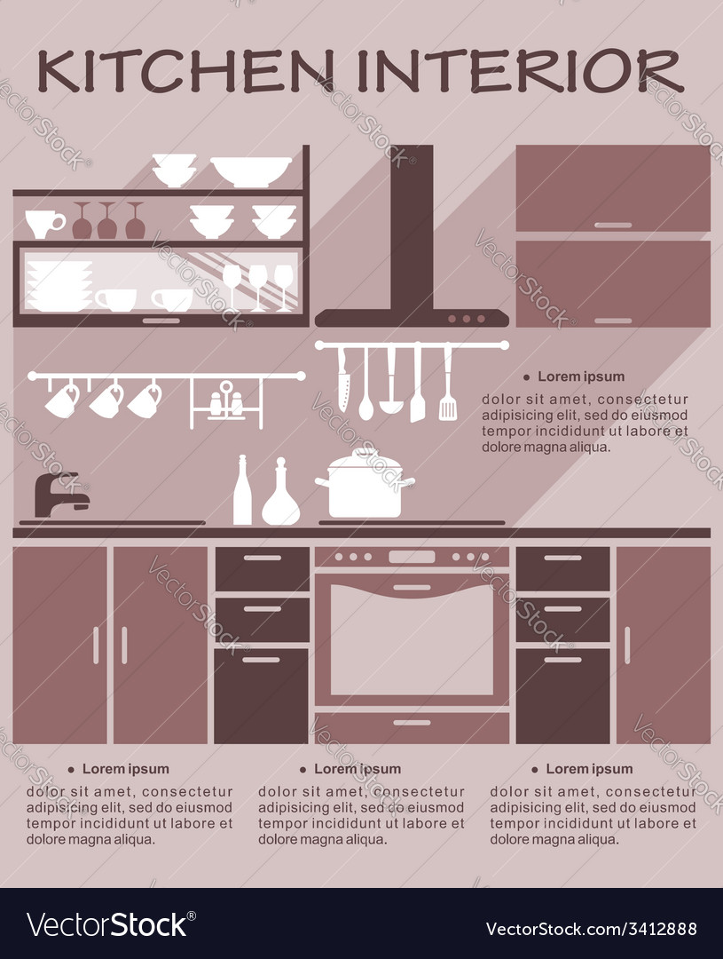 Flat kitchen interior design vector | Price: 1 Credit (USD $1)