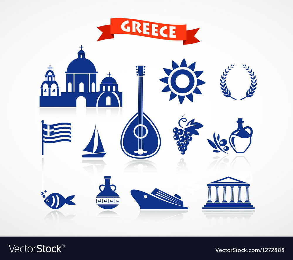 Greece - icon set vector | Price: 1 Credit (USD $1)