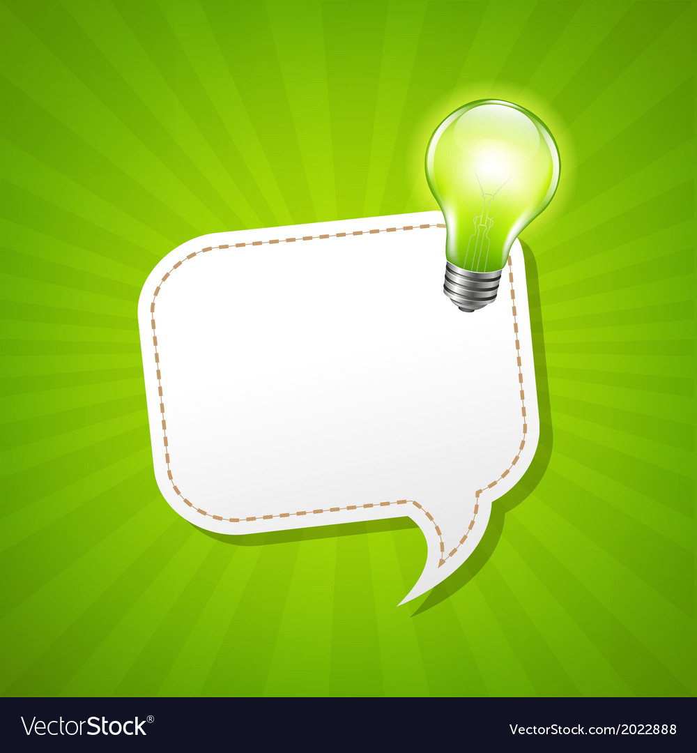 Green sunburst poster and speech bubble and lamp vector | Price: 1 Credit (USD $1)