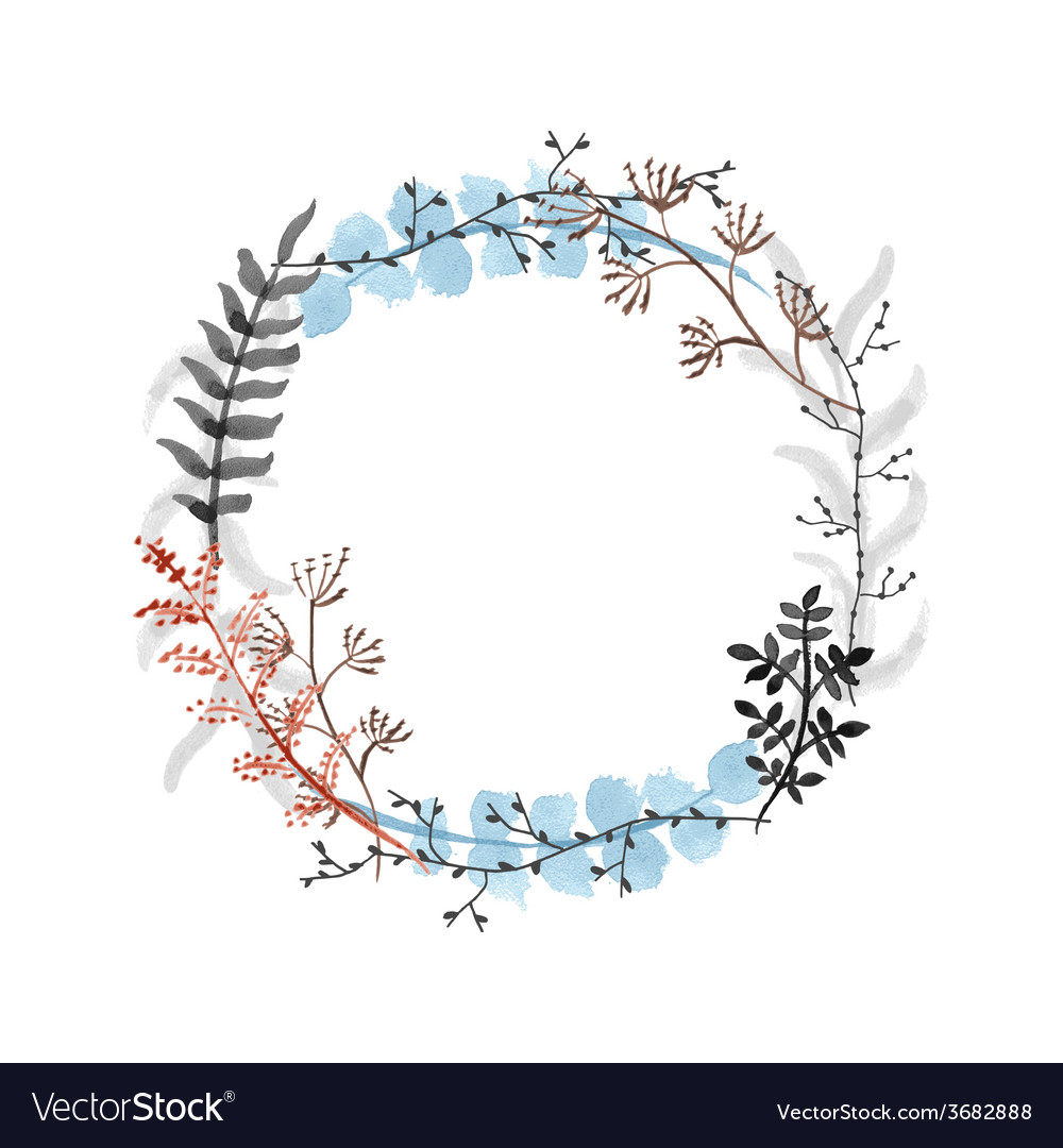 Hand drawn floral wreath vector | Price: 1 Credit (USD $1)