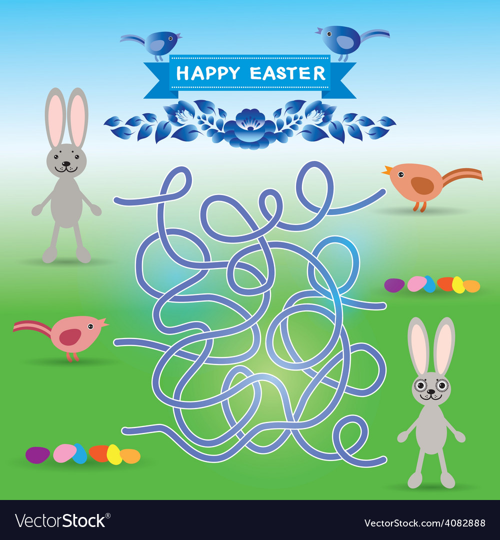 Happy easter set rabbit eggs bird labyrinth game vector | Price: 1 Credit (USD $1)