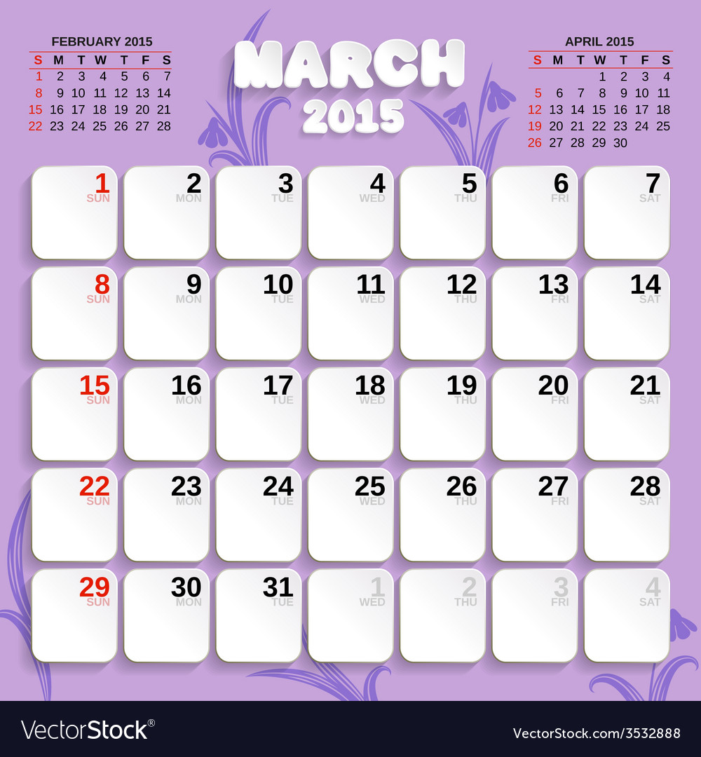 March month calendar 2015 vector | Price: 1 Credit (USD $1)