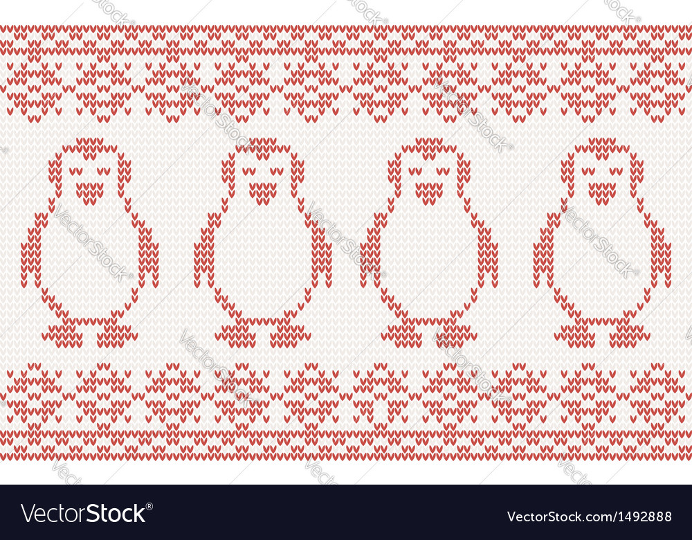Red knitted background with penguins vector | Price: 1 Credit (USD $1)