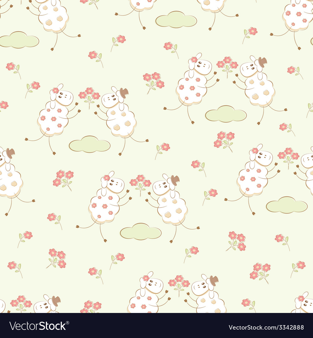 Romantic seamless with sheep vector | Price: 1 Credit (USD $1)