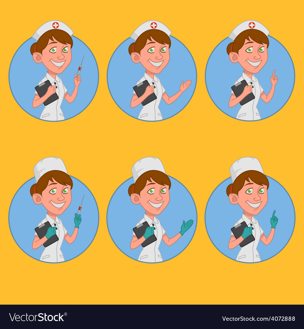 Set of avatars nurse vector | Price: 1 Credit (USD $1)