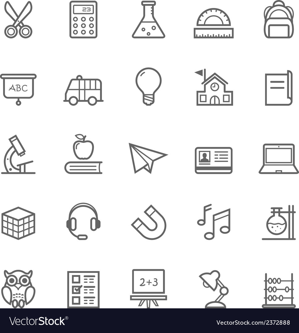 Set of outline stroke education icons vector | Price: 1 Credit (USD $1)