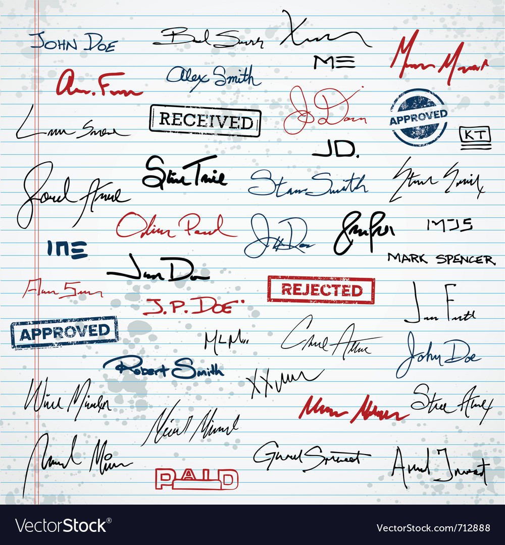 Signatures and stamps vector | Price: 1 Credit (USD $1)