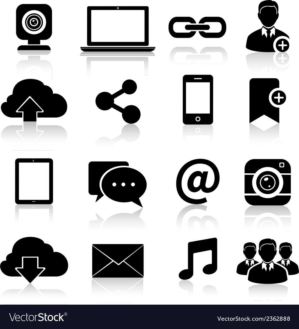 Social media icons black vector | Price: 1 Credit (USD $1)
