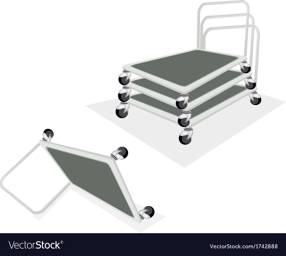 Stack of hand truck or dolly on white background vector | Price: 1 Credit (USD $1)