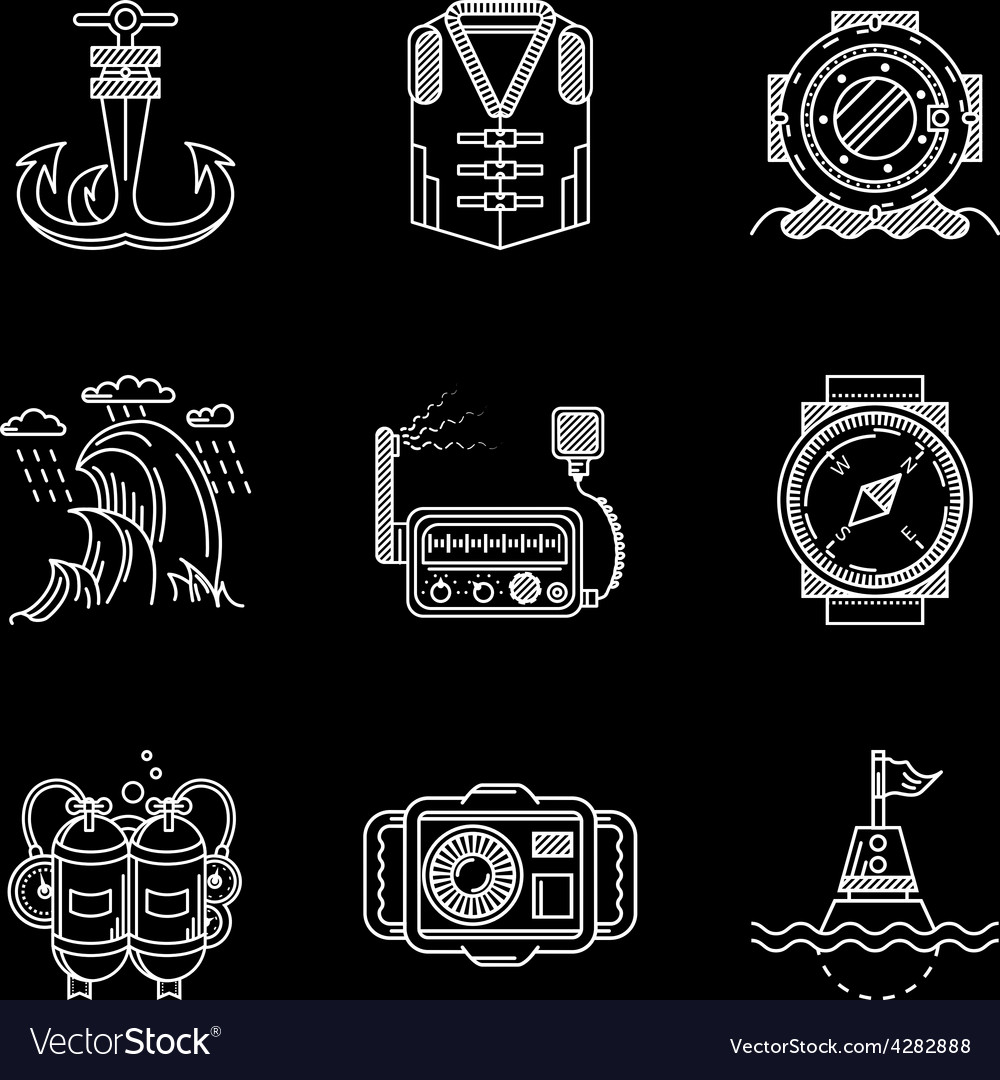 White line icons for marine equipment vector | Price: 1 Credit (USD $1)