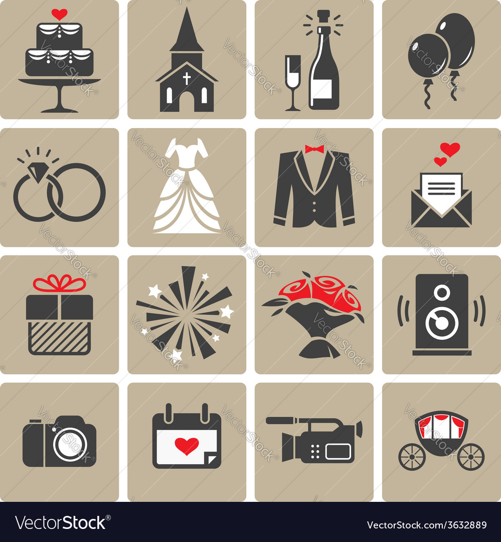 Colored square wedding icons vector | Price: 1 Credit (USD $1)