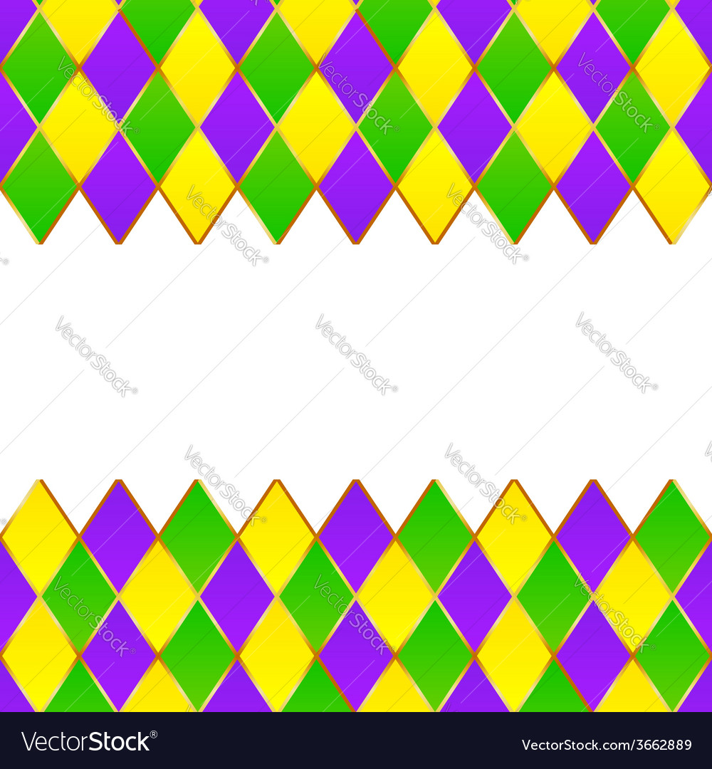 Green purple yellow grid mardi gras frame vector | Price: 1 Credit (USD $1)