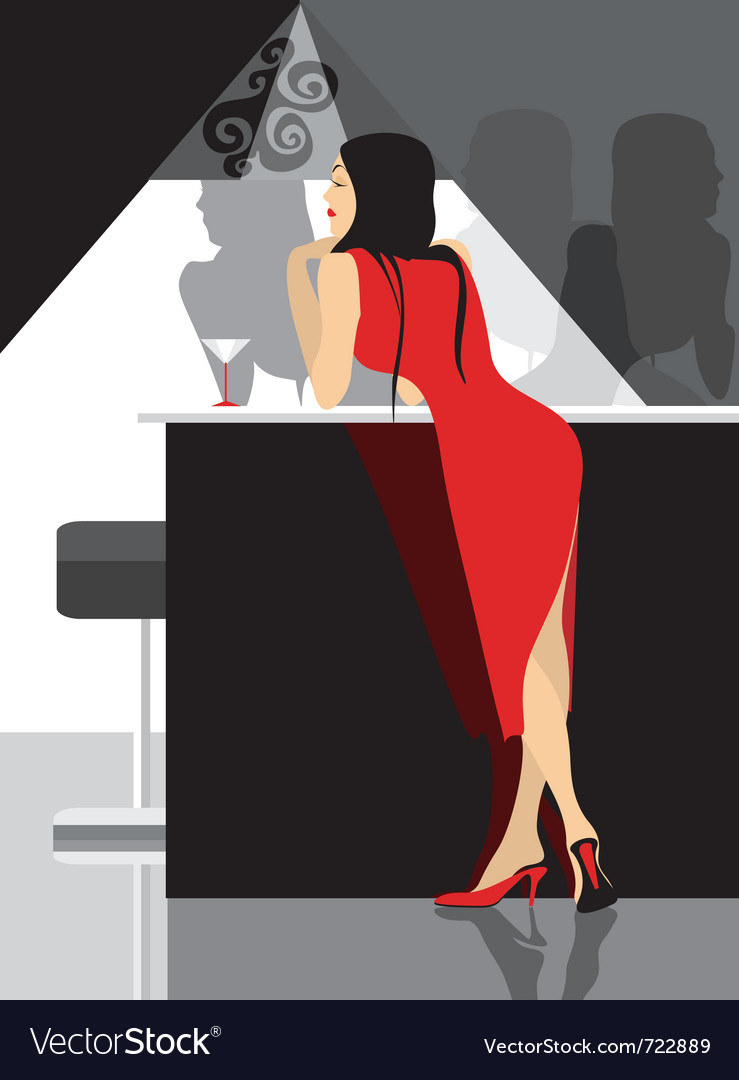 Lady in red party in club vector | Price: 1 Credit (USD $1)