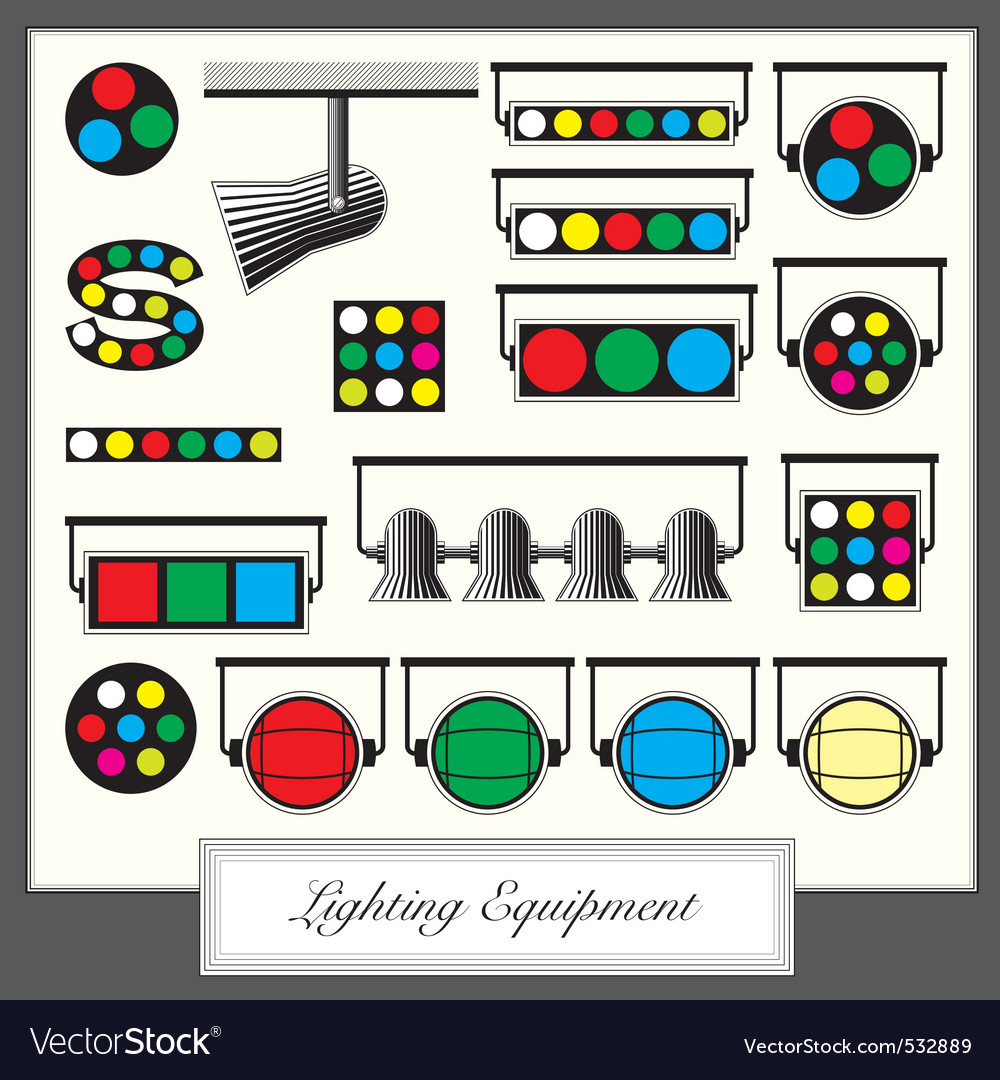 Lighting equipment units and sympols set in vintag vector | Price: 1 Credit (USD $1)