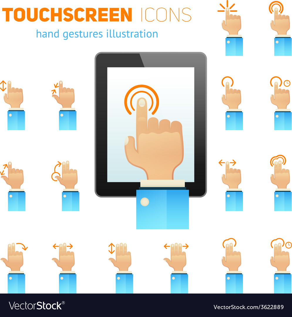 Touch screen gestures icons vector | Price: 1 Credit (USD $1)