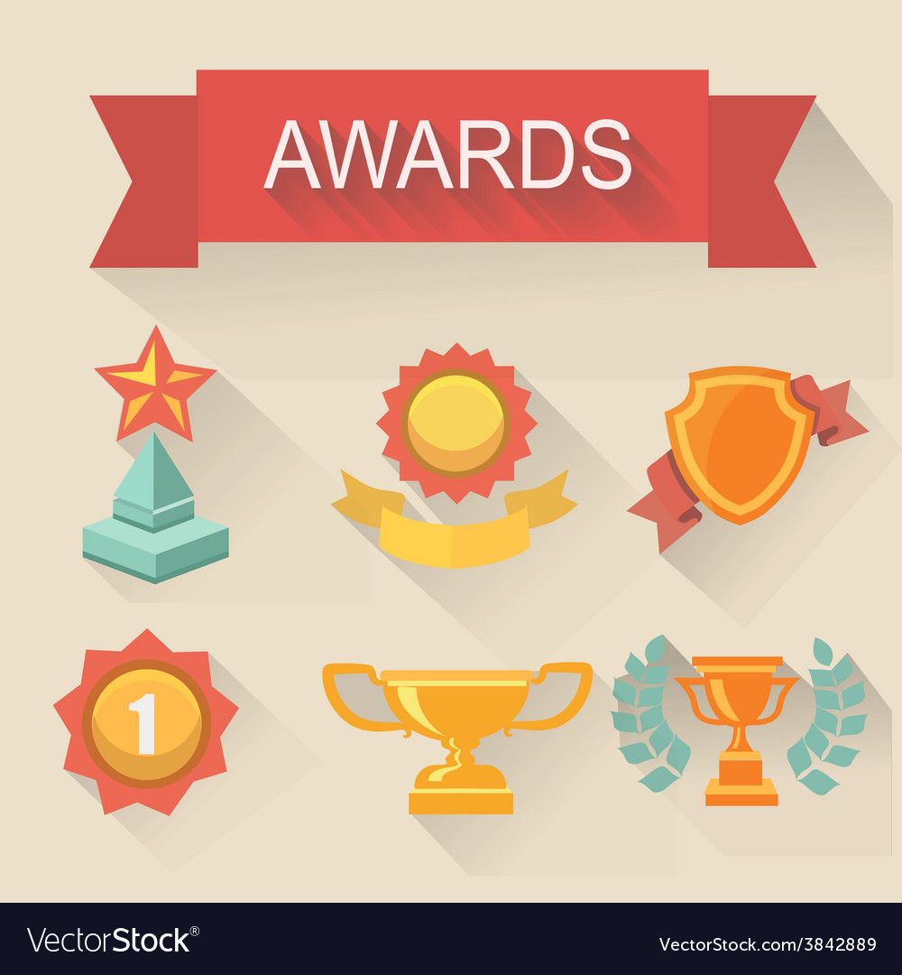 Trophy and awards icons set flat style vector | Price: 1 Credit (USD $1)