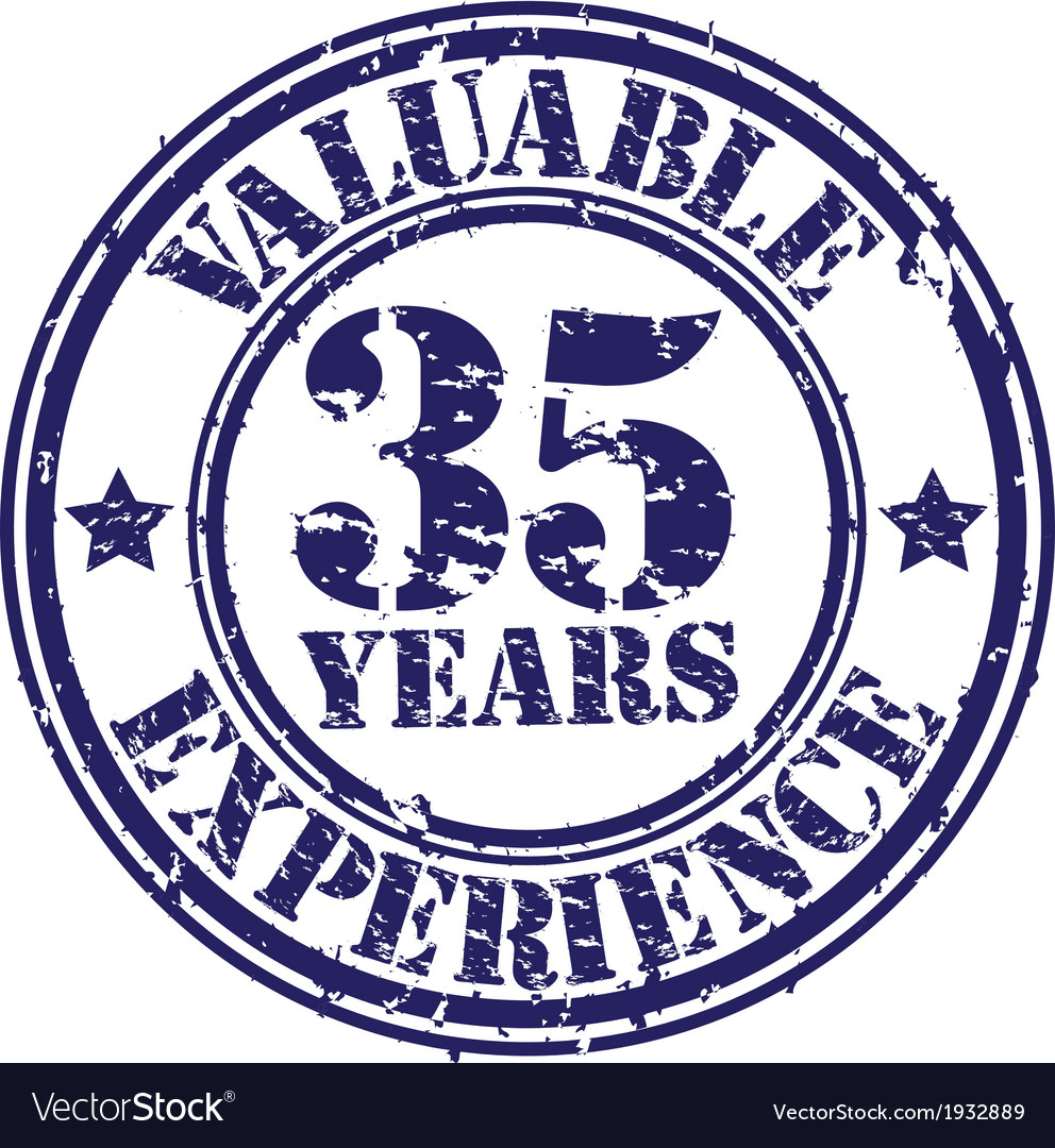 Valuable 35 years of experience rubber stamp vect vector | Price: 1 Credit (USD $1)
