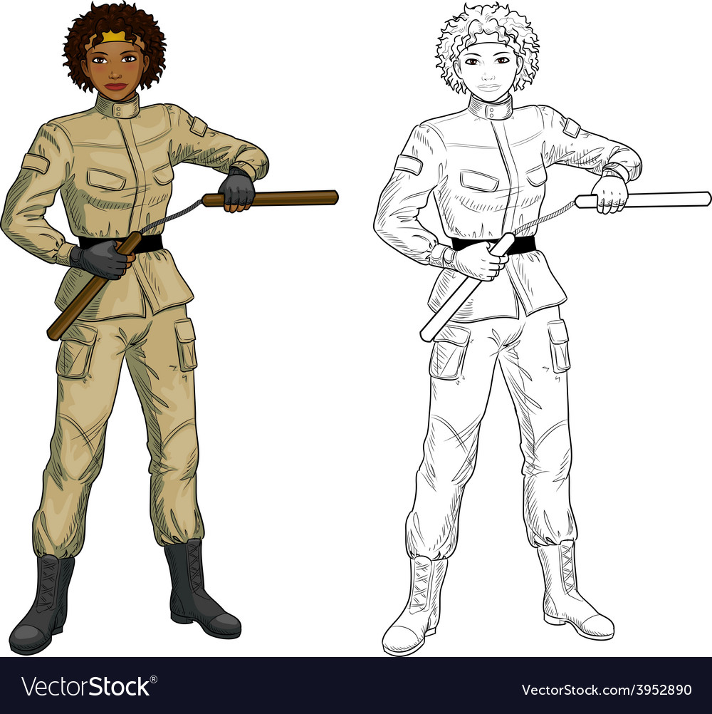 African american nunchuck girl in military uniform vector | Price: 1 Credit (USD $1)