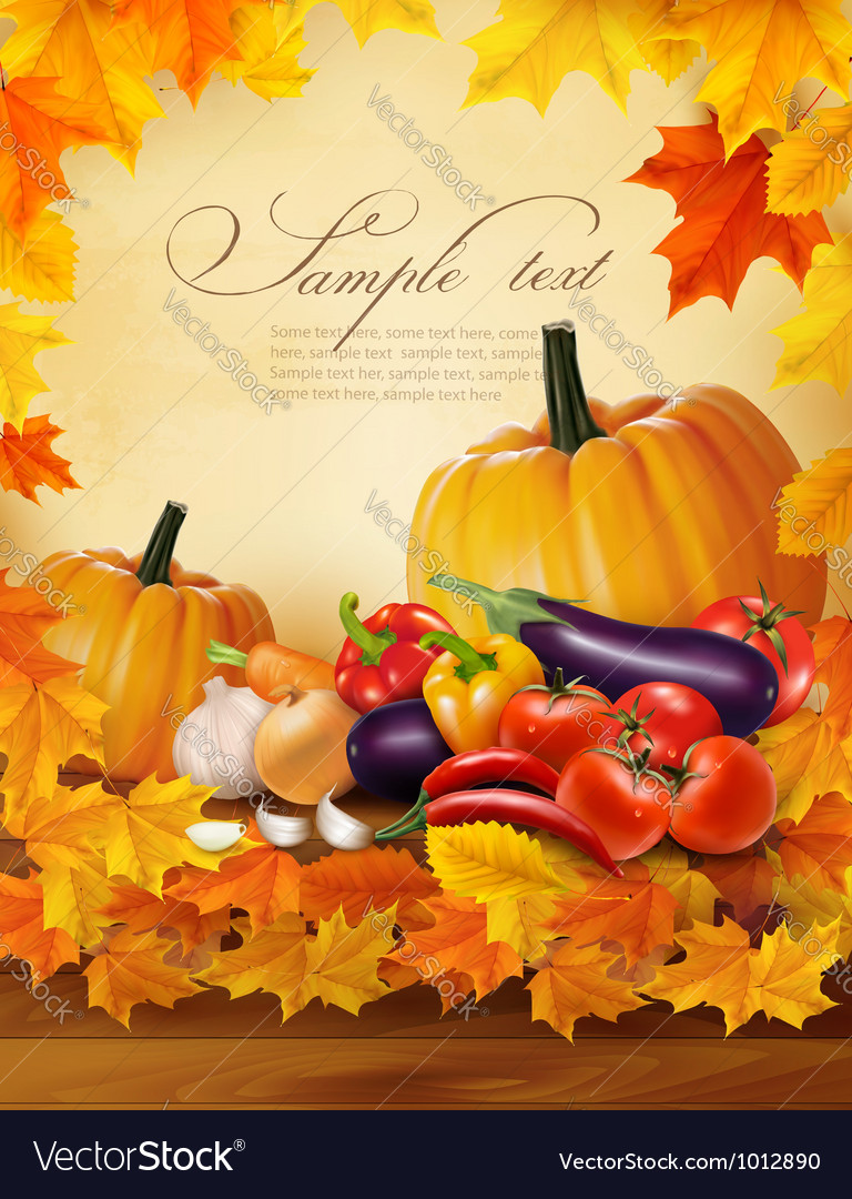 Autumn vegetable on wooden background with leaves vector | Price: 1 Credit (USD $1)