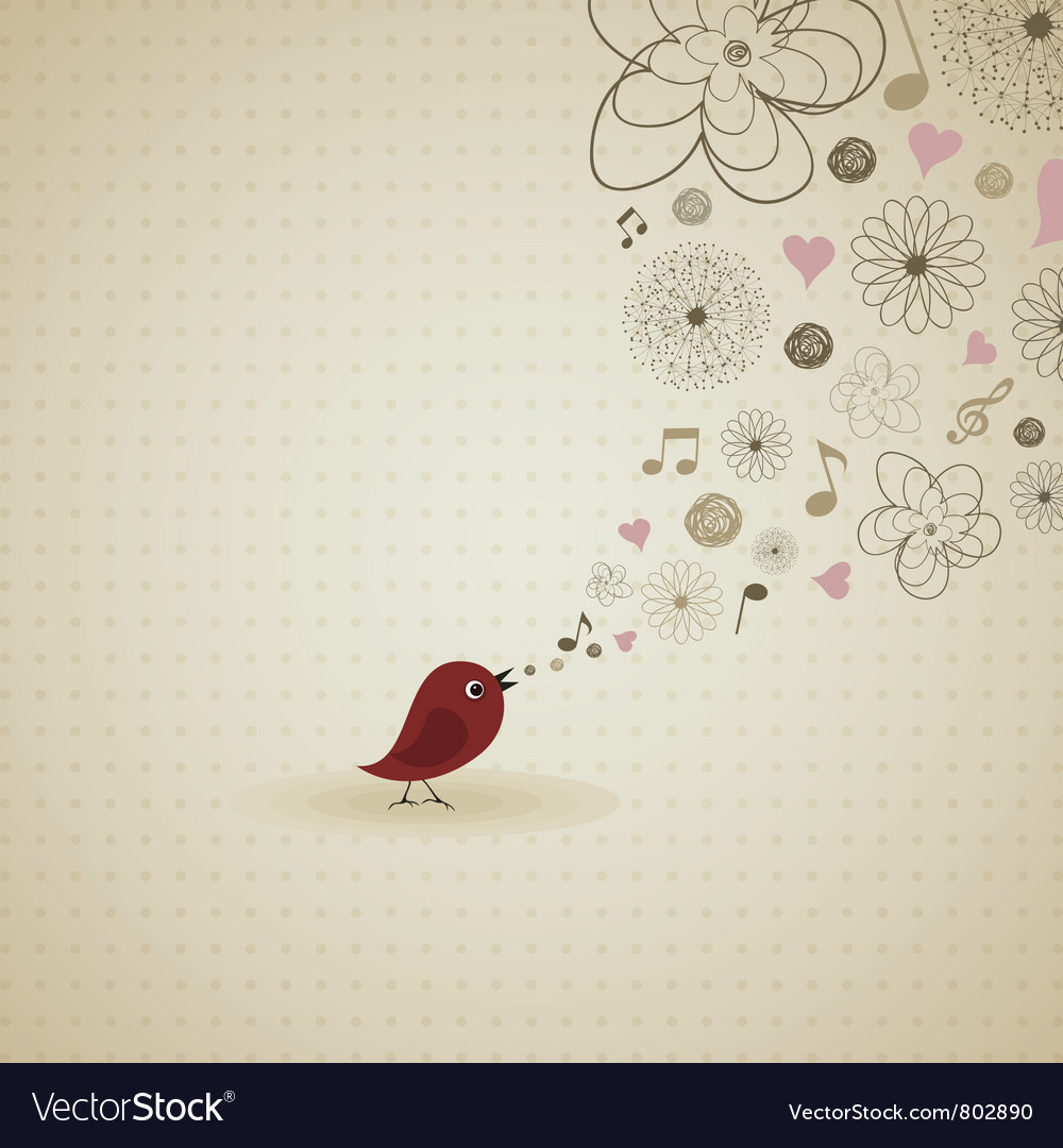 Birdie sings vector | Price: 1 Credit (USD $1)