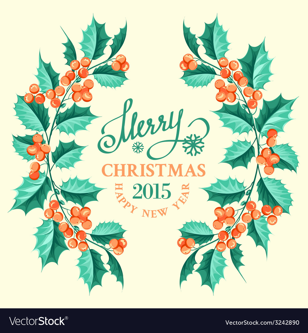 Christmas mistletoe branch frame vector | Price: 1 Credit (USD $1)