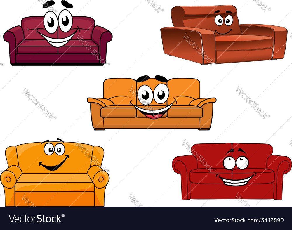 Colorful cartoon sofas and couches vector | Price: 1 Credit (USD $1)