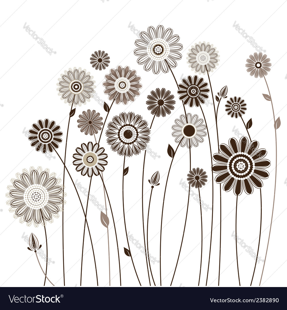 Floral card bouquet of stylized flowers vector | Price: 1 Credit (USD $1)